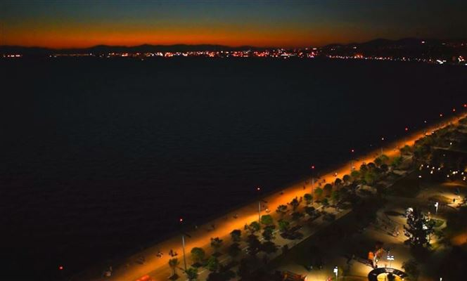 Waterfront sunset aerial
